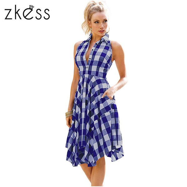 Zkess 2017 Checks Flared Plaid Shirtdress Explosions Leisure Vintage Dresses Summer Women Casual Shirt Dress knee-length LC61513