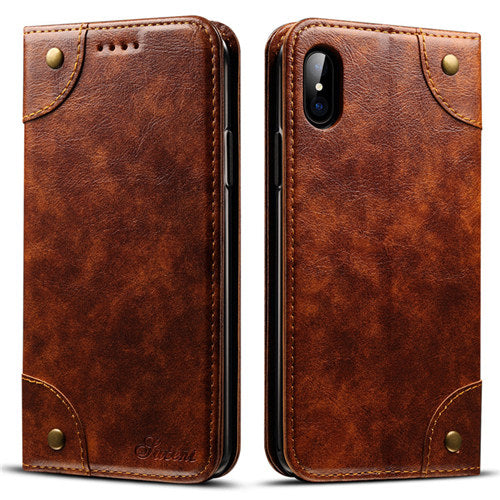419b5f3d Leather Wallet Case For iPhone 7 Case Plus for iPhone 7 Case 8 Plus  Business Card Holder Back Cover Phone Cases For Men