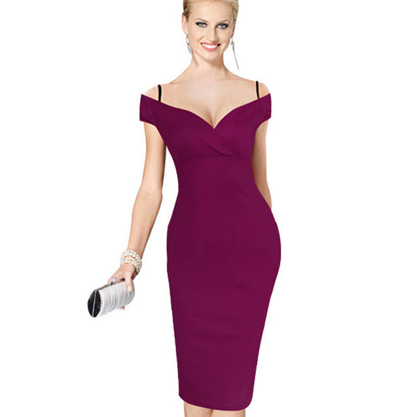Nice-forever New Sexy Elegant Solid Stylish Casual Work Strap Slash Neck Bodycon Knee Midi Women Formal Pencil Dress B309