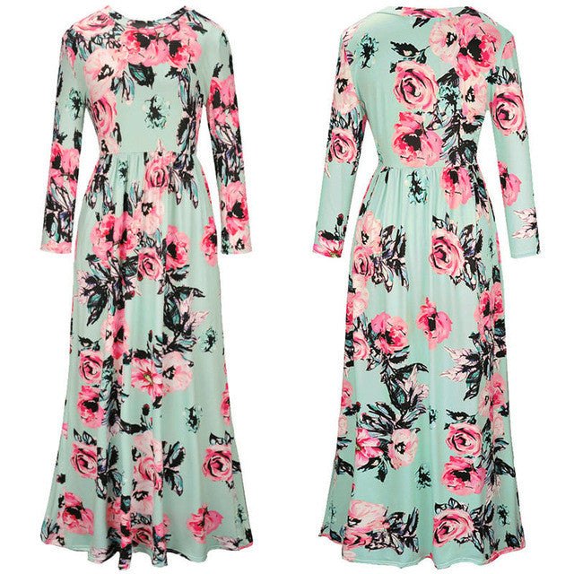 3bc6c7d878 2017 Weljuber Print Flower Beach Dress Boho High Quality Vintage Summe –  Intel Retro