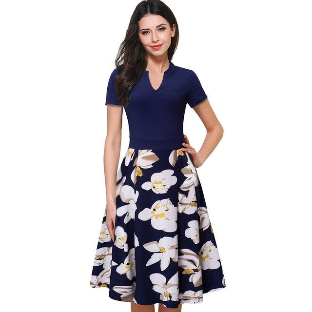 7a13fed09e6fc Nice-forever Vintage Stylish Print Floral Patchwork V-Neck Women Casual  Office Dress Short Sleeve A-Line Swing Summer Dress A036