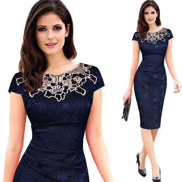 77ade6583dbe0 Fantaist Women Summer Floral Embroidery O Neck Ruched Lace Dress Elegant  Wedding Party Casual Office Vintage Midi Pencil Dresses