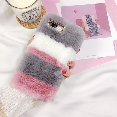 watch fbb46 cfe03 From Jenny Fluffy Mix Fur Silicon Phone Case For Apple iPhone 6 6s 7 7plus  8 8plus X Free Shipping Rabbit mix fur