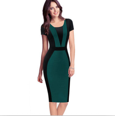 55f2974b898a1 Womens Elegant Sexy O-neck Short Sleeve Pinup Patchwork Bandage Bodycon  Office Dress Knee-