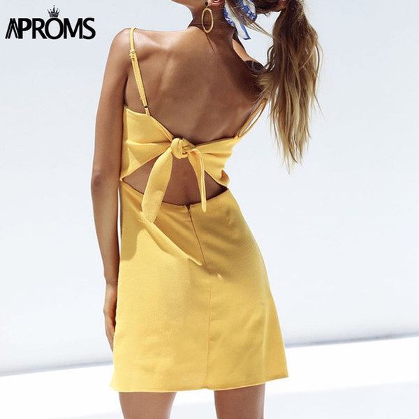 Aproms Back Tie Up Bow Summer Dress Women Sundress Elegant Linen Dress Slim Fit Bodycon White Black Soild Short Dress Vestidos