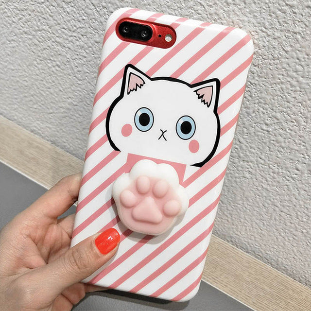 competitive price 98a4c 0b5d9 Squishy Mobile Phone Cases 3D Cat Phone Cover for IPhone 7 Case 7 Plus Case  Silicone For Iphone 6 6S plus Ipone Case Coque Capa