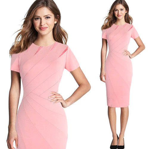 Vfemage Womens Elegant Patchwork Short Sleeves Casual Work Business Office Party Fitted Bodycon Pencil Sheath Slim Dress 4682