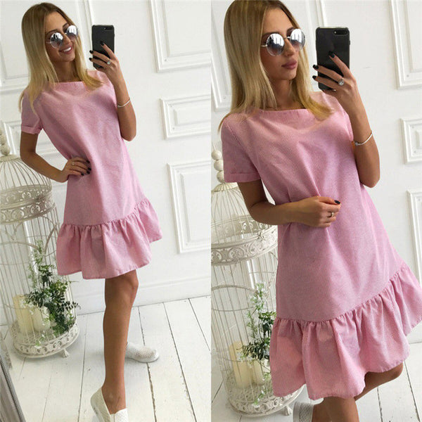 2017 Summer Dress Women Solid Striped O-neck Slim Beach Dress Candy Elegant Sexy Dress Women Dresses Vestidos LJ9649R