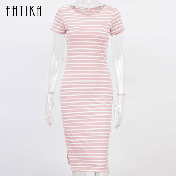 FATIKA Women Casual Summer Dress Short Sleeve O-Neck Bodycon Dress Striped Side Split T Shirt Women's Slim Fit Dresses