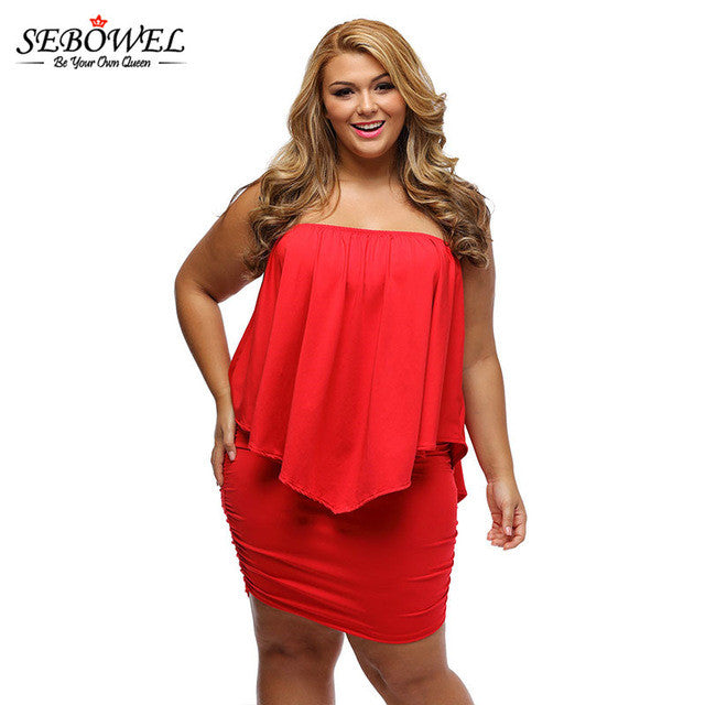 8576522b7bf ... 2017 Women's Plus Size Dress Red Off Shoulder Femme Sexy Oversize  Dresses Large Big Sizes Women ...
