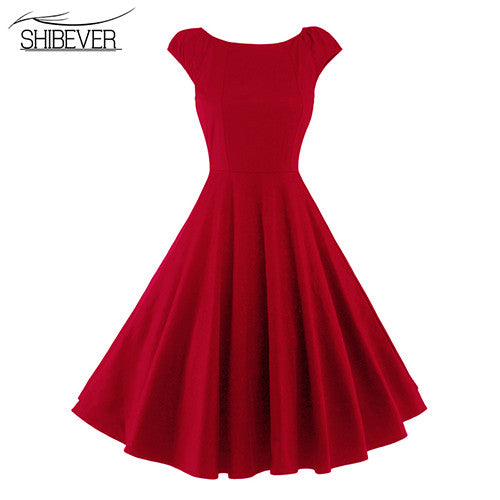 SHIBEVER New summer Women casual swing solid elegant Dress Fashion O-neck party Dresses Classic casual female dress 2017 7-ALD30