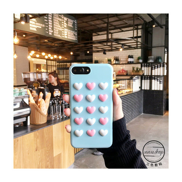 3D small love heart TPU case for iphone 7 7Plus Candy color soft silicon case For iphone 6 6s 6Plus 8 8plus back cover