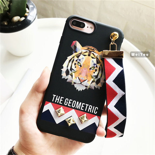 2017 Halloween Animal Printed Case for Iphone 7 7 Plus Tiger Rabbit Stud Rivet Wrist Strap Back Cover for IPhone 6 6S PLus Coque