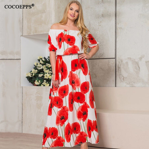 2017 Women sexy Lotus Print 5XL 6XL Plus Size Long floor length Dress Large size off shoulder Slash neck Maxi Dresses clothes