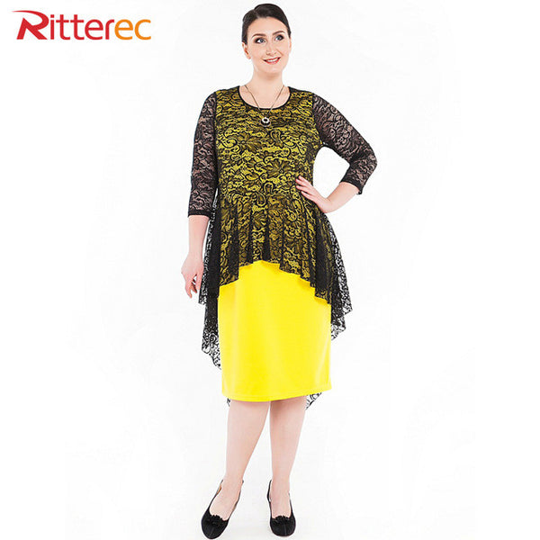 2017 summer lace dress 7XL Three Quarter Straight midi plus size dresses for women 4xl 5xl 6xl ladies office 3Xl yellow dress