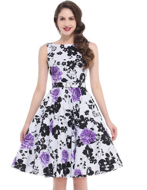 Belle Poque Print Floral 50s Vintage Dresses Audrey Hepburn 2017 Women Summer Retro Dress vestidos robe Womens Casual Clothing