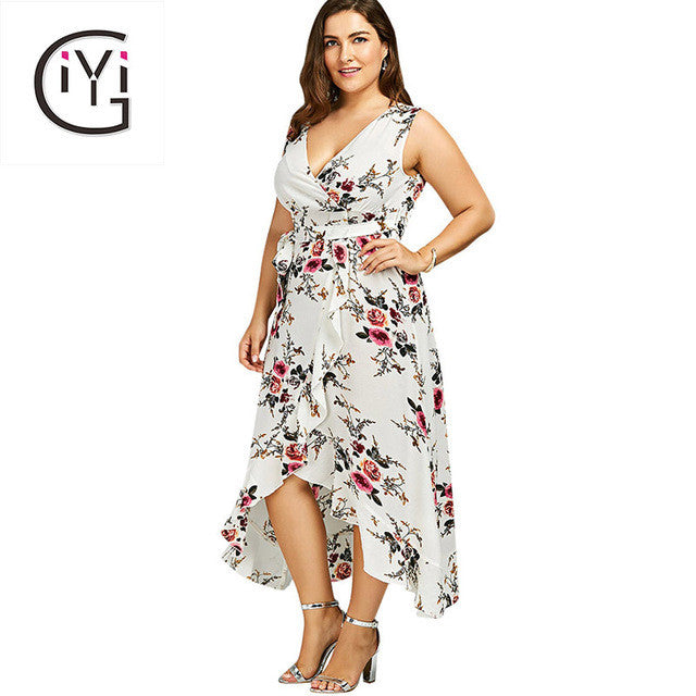 dd5766a4becb5 GIYI Plus Size 5XL 4XL Floral Print Chiffon Beach Maxi Long Dress Summer  Women Clothes Sexy V Neck Boho Wrap Tank Dress Sundress