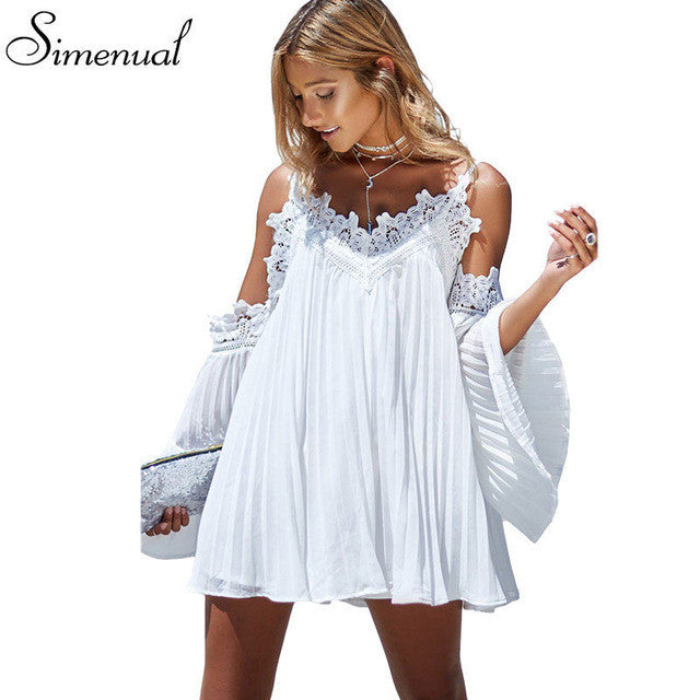 df715009e2 Boho off shoulder lace splice summer beach dress ladies 2017 flare sle –  Intel Retro