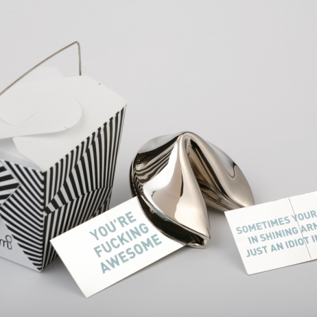 Silver Fortune Cookie Box
