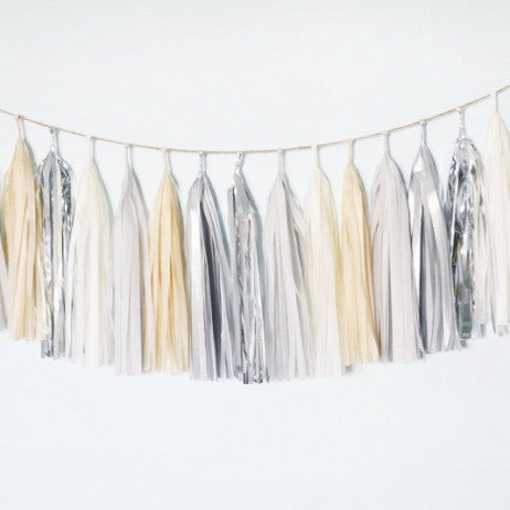 Silver Neutral Tissue Tassel Garland