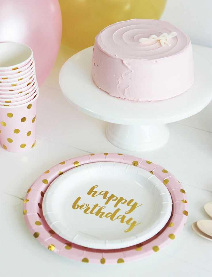 Happy Birthday Cake Plates 12PC