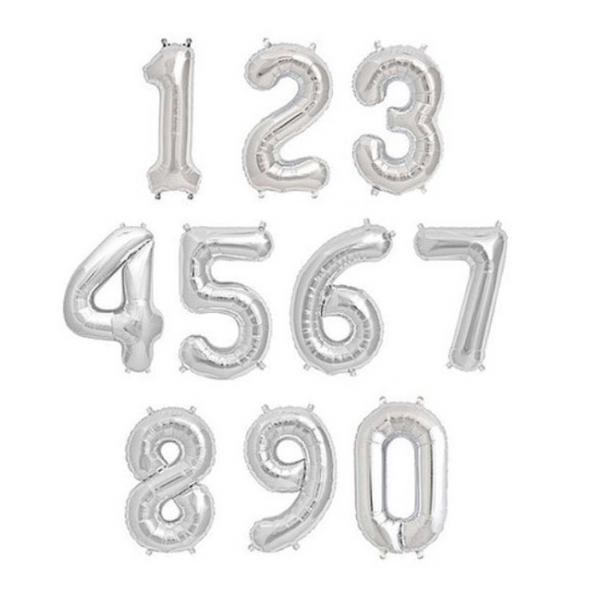 "16"" Silver Balloon Numbers"