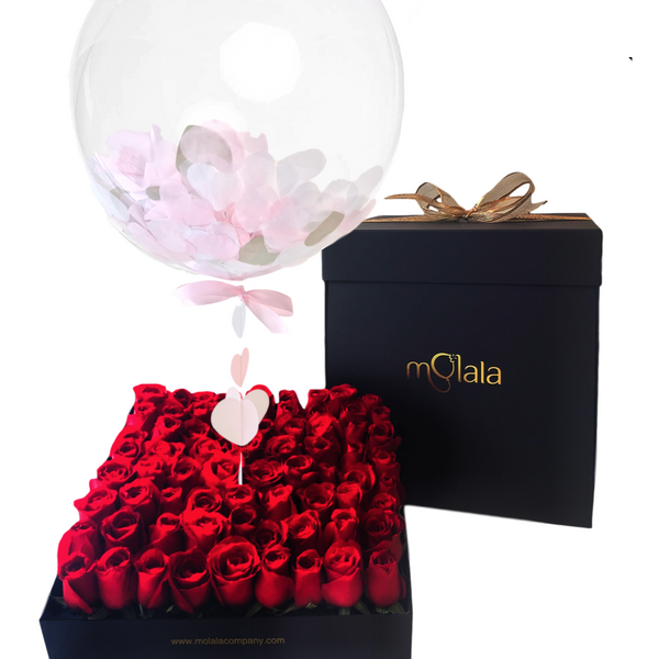 Rose Balloon Box - Pink Confetti
