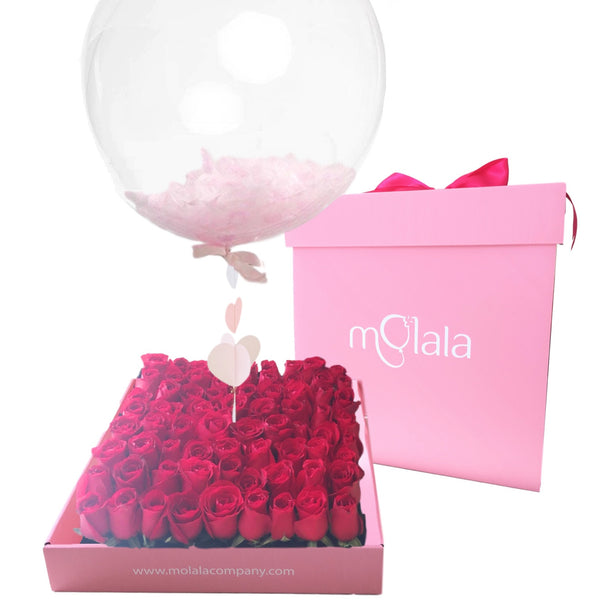 64 Rose Balloon Box - Pink Feather Balloon