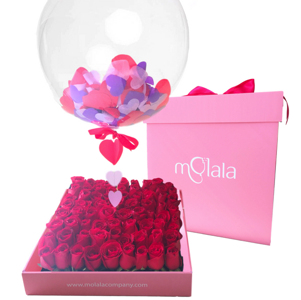 64 Rose Balloon Box - Purple Confetti Balloon