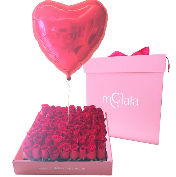 64 Rose Balloon Box - Red Heart Balloon
