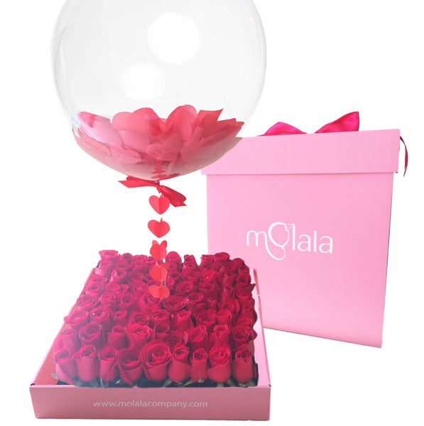 64 Rose Balloon Box - Red Confetti Balloon