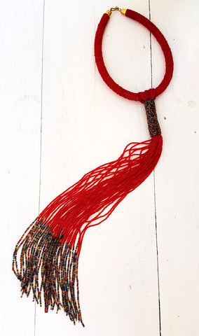 Scarlet Beaded Chain Necklace - Tausii