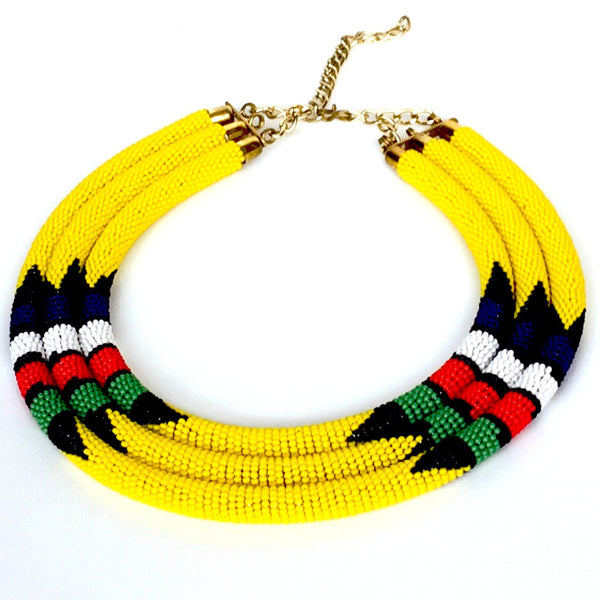 Masai Zulu Inspired Multi-Tiered Necklace - Tausii
