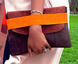 Leather and Suede Clutch - Tausii