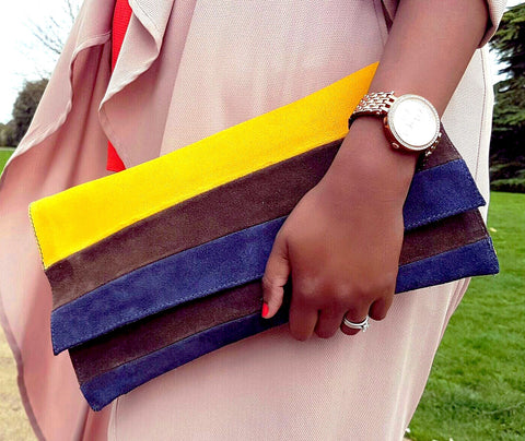 Layered Leather / Suede Clutch - Tausii