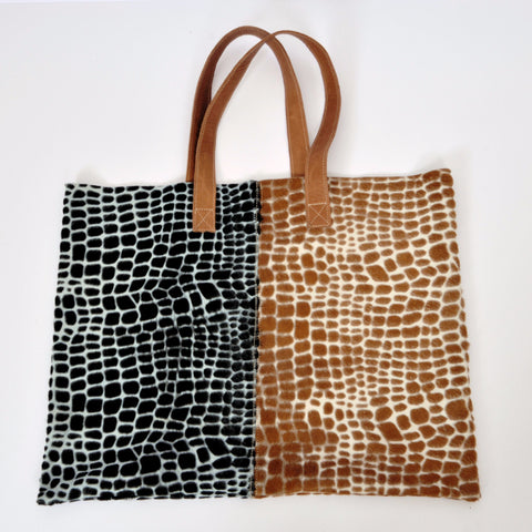 'Half and Half' Moroccan Leather Suede Tote Bag - Tausii