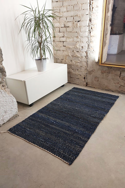 AUS/KOOME KOOS carpet from post-consumer denim | 80x150cm Dark blue