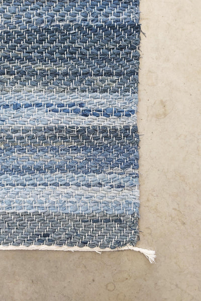 AUS/KOOME KOOS carpet from post-consumer denim | 80x150cm Light blue