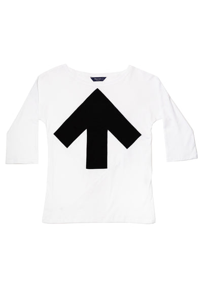 Up-shirt for women, 3/4 sleeves | White, black
