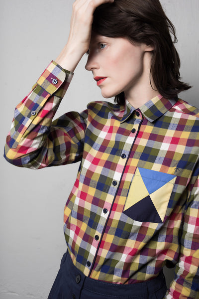 Aus/Sangar shirt for women | Checkered yellow