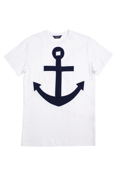 Up-shirt for men, anchor motif | White, dark blue