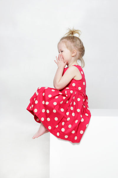 Kids pleated polkadot dress for girls from organic cotton / K525P