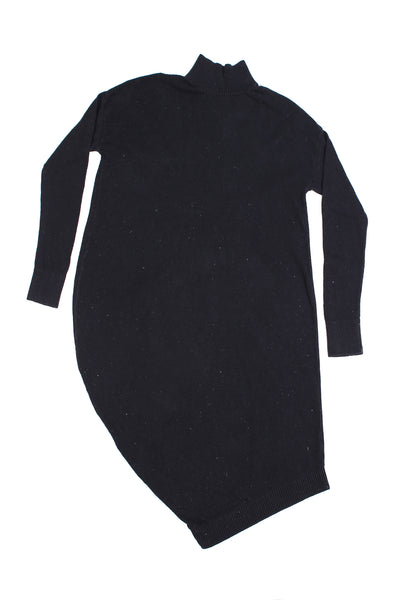 Asymmetric knitted dress with turtle neck | Black