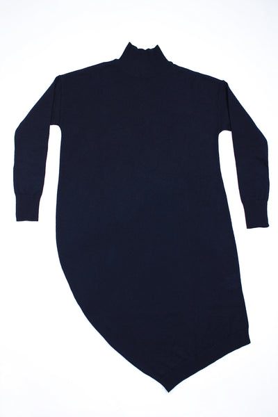 Asymmetric knitted dress with turtleneck | Dark blue