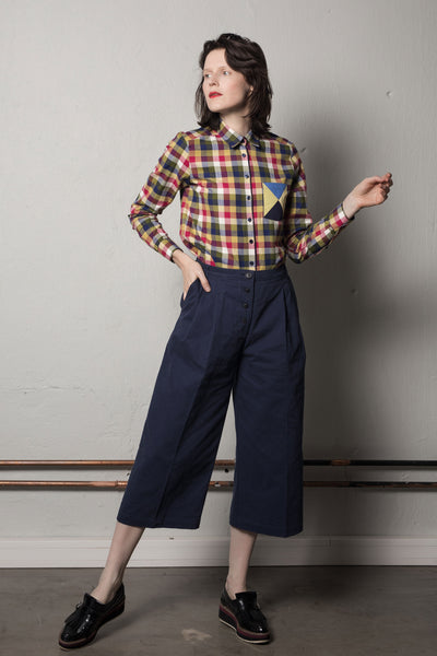 Cropped wide leg trousers in ink blue