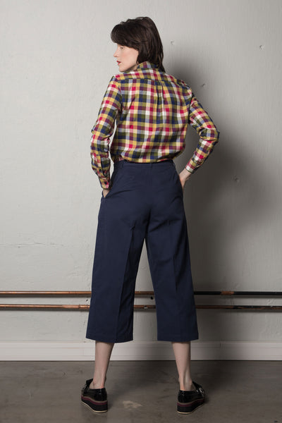 Cropped wide leg trousers in ink blue / W405E
