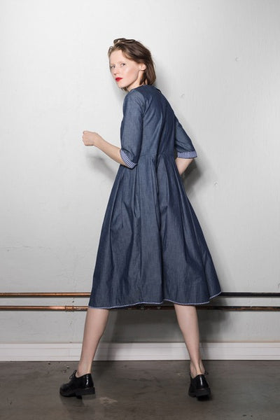 3/4 sleeve multi-fold dress | Blue