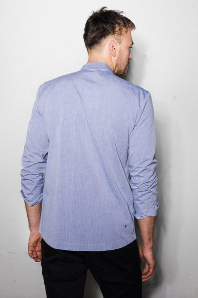 Asymmetric hem shirt | Light blue