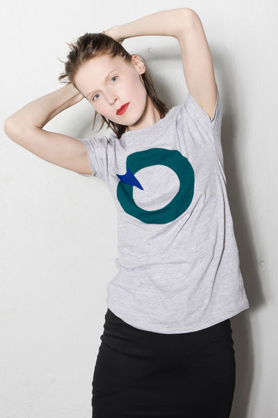 Up-shirt for women, circle motif | Light grey, aqua