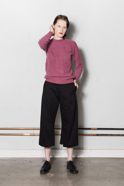 Cropped wide leg trousers | Black
